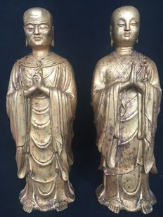 Two gilt bronze figures of Ananda and Mahakasyapa -Tibet - late 20th century