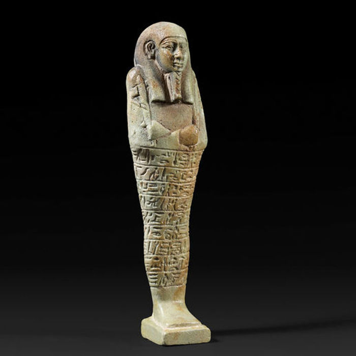 Ancient Egyptian faience ushebti of Admiral Psametik-mery-Ptah - 18 cm