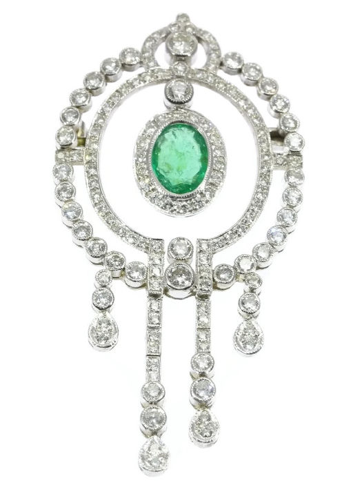 d3d0c55a42d Glorious Belle Epoque inspired white gold brooch pendant featuring  brilliant-cut diamonds and emerald
