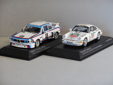 Minichamps - Scale 1/43 - Lot with 2 models: BMW 3.5 CSL IMSA 24h Daytona 1976 & Porsche 911 Carrera 2 Carrera Cup #33 Monaco 1993
