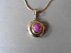 14k Gold Cabochon Ruby and Sapphire Pendant, length without bail - 15mm (no chain included)