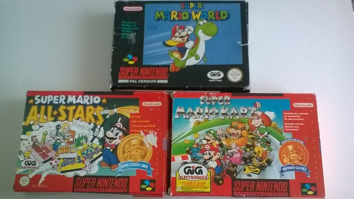 Lot of 3 SNES games - all in box - Super Mario World, Super Mario Allstars, Super Mario Kart