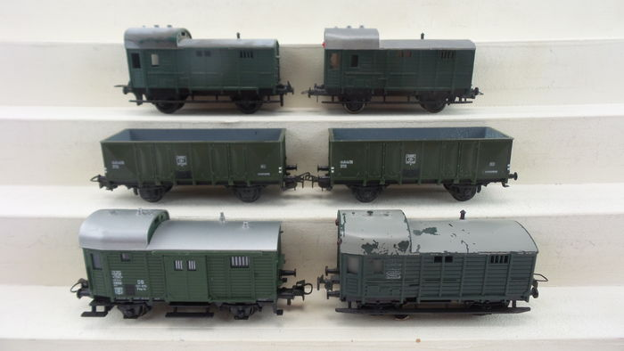 Märklin/Trix Express H0 - 3454 - 6 German Railways accompanying/open sided  carriages, two with tail lights, - Catawiki