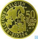 "België 50 euro 2008 (PROOF) ""Centenary of the writing of the theater play by Maurice Maeterlinck - The Blue Bird"""