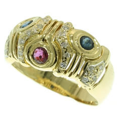Unique yellow gold cocktail ring with diamonds, sapphires and a ruby