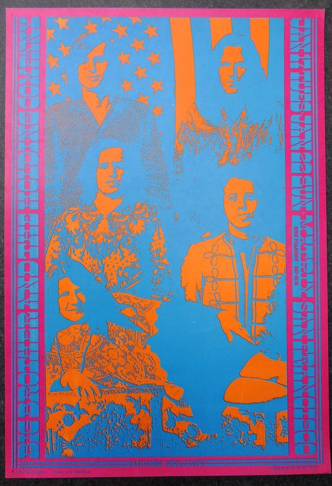 Iconic Janis Joplin Matrix Neon Rose Poster San Francisco 1967 Victor Moscoso