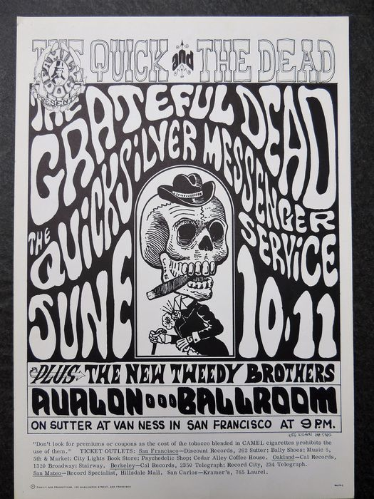 Dead Mint Grateful Dead San Francisco 1966 Wes Wilson San Francisco Avalon Poster