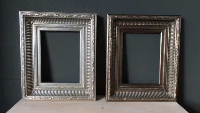 2 Gold Plated Painting Frames With Fluting 30 X 40 Cm 21st Century