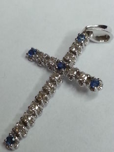 18 kt white gold necklace with diamonds 0.24 ct and sapphires - 45 cm