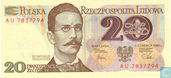 Billets de banque - Pologne - 1952-1989 People's Republic - Pologne 20 Zlotych 1982