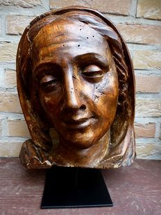 Antique religious wood carving - life-size lime wood head Mary- 17th / 18th century