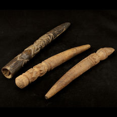 3 Pre-Columbian Chimu Culture Wooden Staffs - (3)