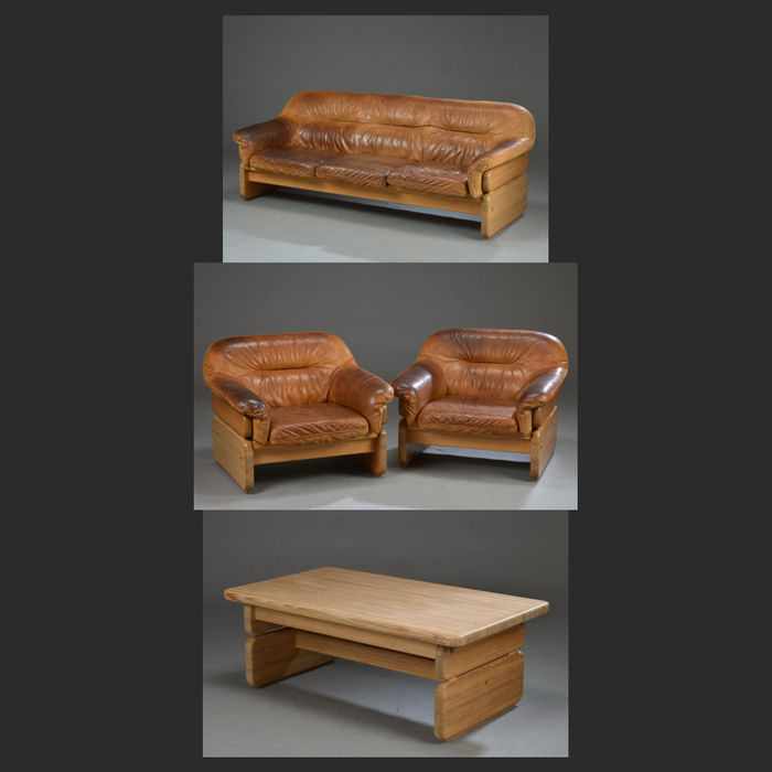 Vintage furniture manufacturers Industrial Dansk Furniture Manufacturers Vintage Living Room Set In Brown Leather With Solid Pitch Pine Aureadentclub Dansk Furniture Manufacturers Vintage Living Room Set In Brown