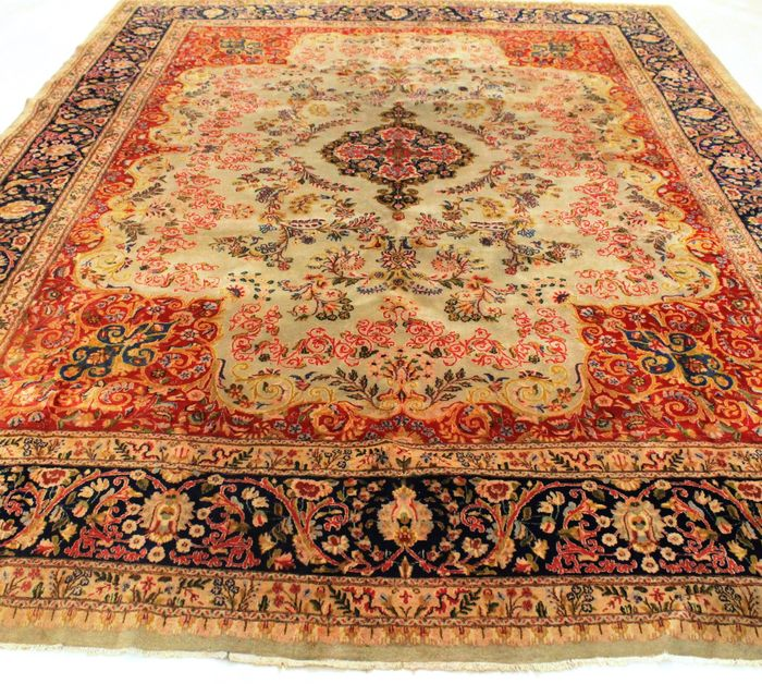 Old Hand-knotted Persian Palace Carpt Old Lawer Kirman