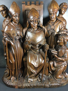 Sculpted triptych of the inauguration of a cardinal / Mechelen / late 18th early 19th century / oak