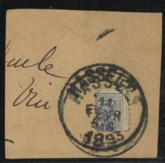 Belgium 1870 – Postage due stamp, 20 centimen as 1/4 stamp on fragment for postage due of 5 centimen - OBP TX2 with photo certificate