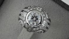 2.80 ct round diamond vintage  ring made of 18 kt white gold - size 6