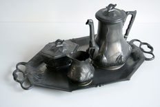 Orivit - Jugendstil pewter coffee set with natural motifs
