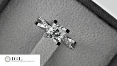 IGL 1.21 ct  cushion diamond fashion ring made of 18 kt white gold.