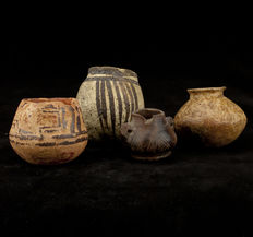 Pre-columbian terra cotta  group of 4 small vessels - (4)