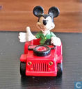 Mickey Mouse in red jeep with thumb up