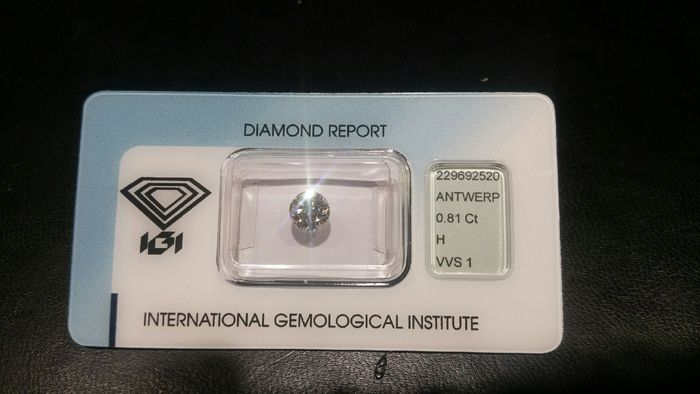 0.81 ct brilliant cut diamond, H VVS 1.