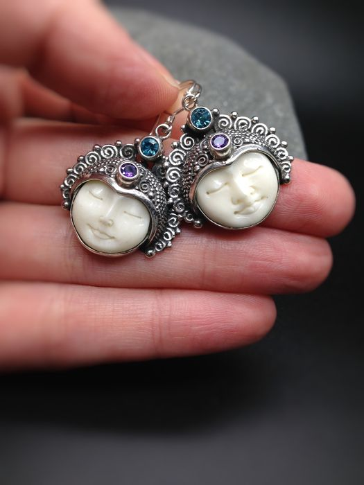 Bali Moon Face Girl And Boy Earrings With Amethyst And Blue Topaz