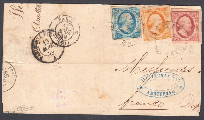 The Netherlands 1852 - Folded letter with 'Tricolore' postage NVPH 1/3