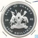 "Uganda 2000 shillings 1993 (PROOF) ""Munich's Frauen Kirche"""