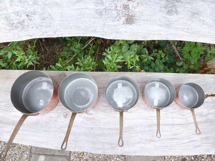 Set of 5 tinned copper pans metaux ouvres vesoul art et for Art and cuisine cookware reviews