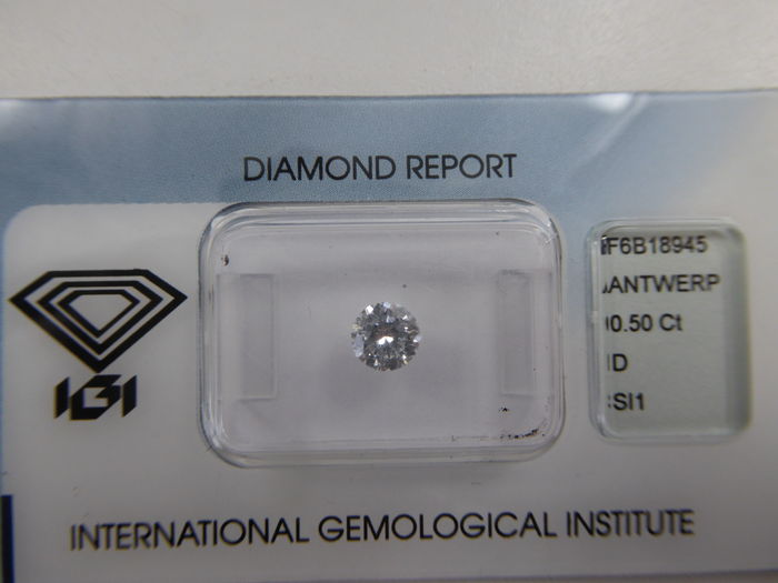Brilliant cut diamond 0.50ct  D SI1  -Highest colour