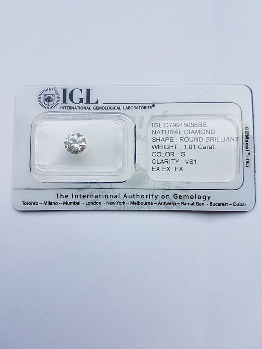 Diamond – 1.01 Carat Colour G VS1 with IGL certificate