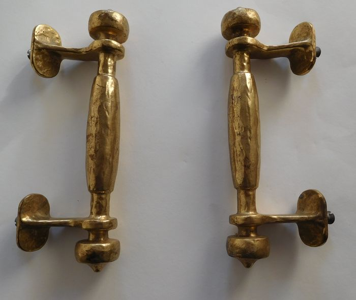 A pair of brass door handles - Circa 1950