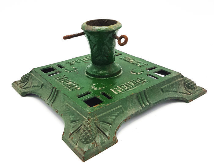 Large antique christmas tree stand with text catawiki