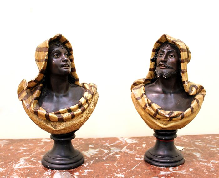 A pair of Orientalist polychrome painted gesso busts of a man and a woman - second half 19th century