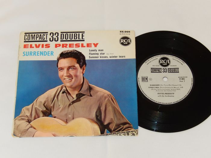 """Elvis Presley rare French France EP - Compact 33 Double """"Surrender"""" RCA 33.001 (1961) - Very rare white label"""