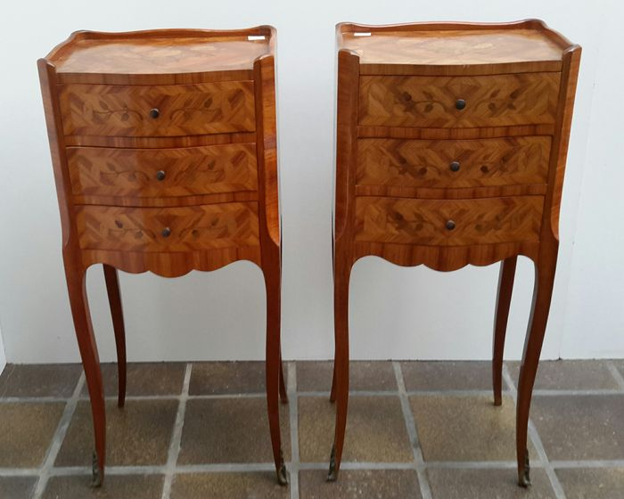 a pair of louis xv style bronze mounted tulipwood and fruitwood inlayed tables de chevet france. Black Bedroom Furniture Sets. Home Design Ideas