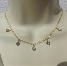 Gold necklace with 6 mm brilliant cut zirconia