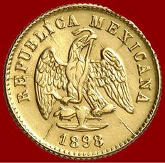 Mexico – One peso gold coin (1.65 g,  14 mm) – Coined in 1898. Mexico City Mint.