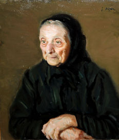 Francesc Serra Castellet (1912 - 1976) - Portrait of an old woman