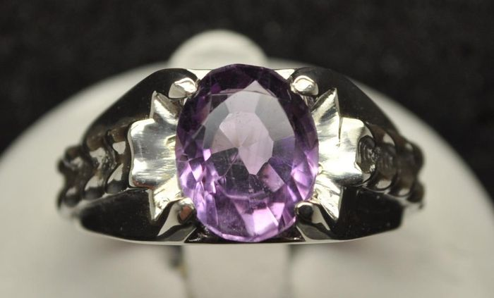 Mens Genuine Amethyst Ring