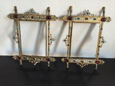 A pair of Renaissance revival gilt metal and enamel frames - set with paste stones - circa 1850/1870