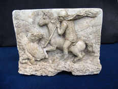 Saint George Defeating the Dragon - stone high-relief plate - Italy - 18th century