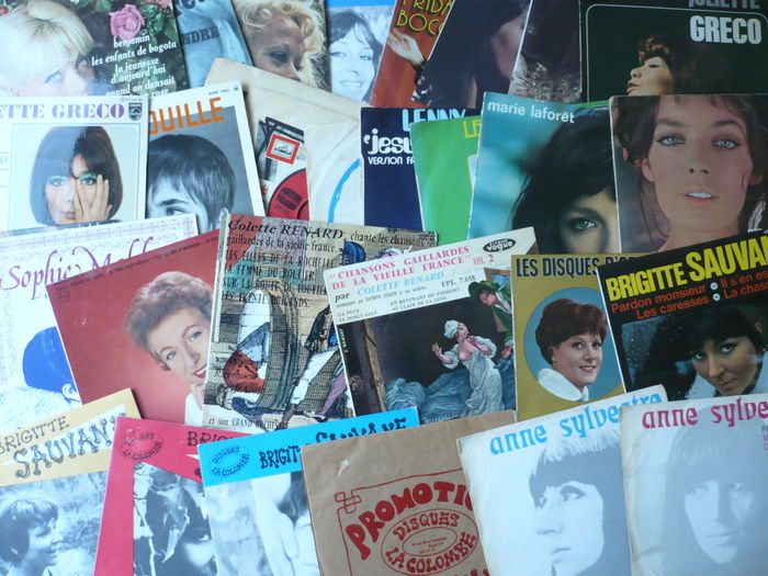 "French 1960's Ladies - Lot of 30 7"" singles and E.P.'s (various labels 1961-1976)"