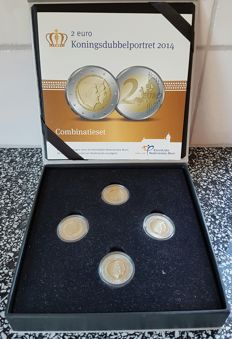 "The Netherlands – Combination set 2014 ""2 euro King's double portrait with colour"""
