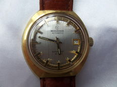 Vintage Rodania automatic wristwatch from around 1970, Swiss made, with date display.