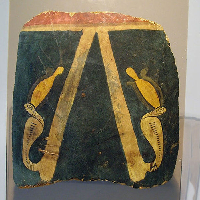 Egyptian Cartonnage depicting two upright Uraei wearing the white crown of Upper Egypt - 19 cm