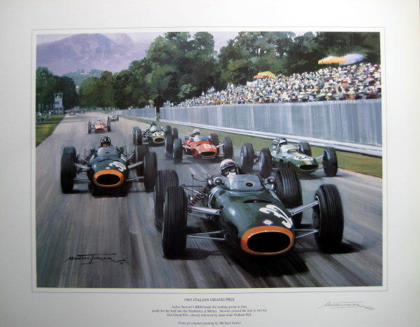 art lithograph italian grand prix 1965 brm monza jackie stward artist michael turner. Black Bedroom Furniture Sets. Home Design Ideas