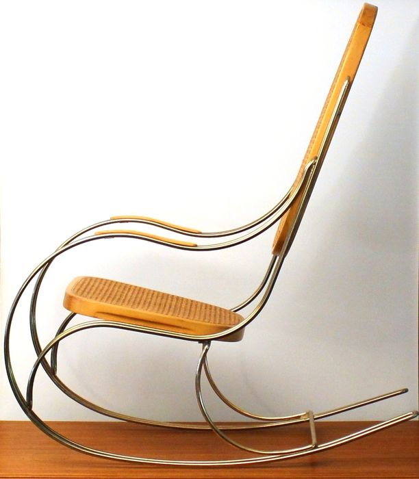 Designer Unknown   Vintage Brass Bentwood Rocking Chair With A Rattan Seat  And Backrest.