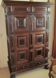 A good Renaissance oak and ebony two door cupboard - Netherlands - mid 17th century